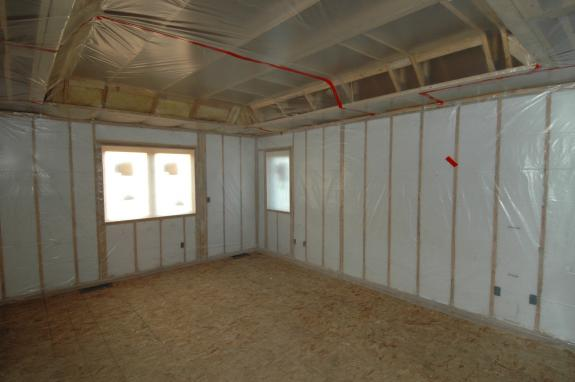 Insulation air sealing middleton green home for Blanket insulation basement walls